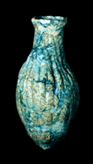 Botella mesopotámica de vidrio estriado (1300-1200 a. C.) (The British Museum)