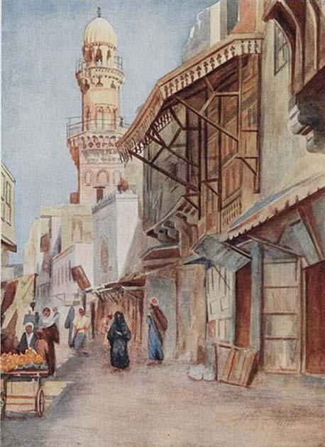 Calle de El Cairo (Egipto). Al fondo se puede ver la mezquita del sultán Baibars. (CC BY SA 2.5)
