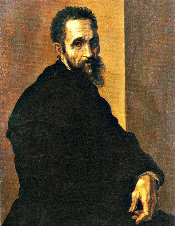 Retrato de Miguel Ángel Buonarotti, (c. 1535). Óleo de Jacopino del Conte (1515-1598). (Public Domain)