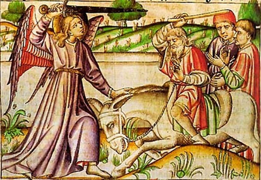 Miniatura medieval del siglo XIV que ilustra el relato bíblico de Balaam y su asna. (Dominio público)
