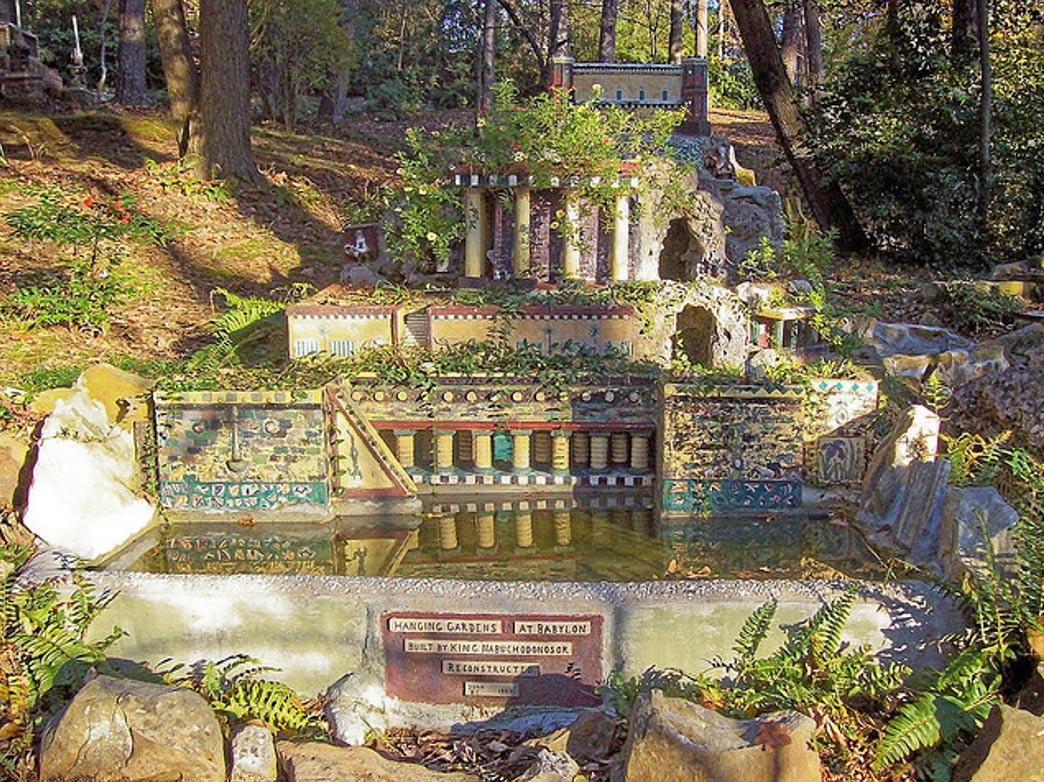 Reconstrucción hipotética en miniatura de los Jardines Colgantes de Babilonia (Bridget McKinney/Flickr)