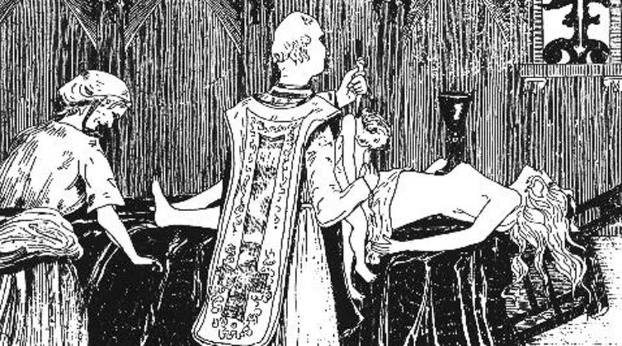 Catherine Monvoisin y el sacerdote Étienne Guibourg realizan una misa negra para Madame de Montespan, amante del rey de Francia Luis XIV. Supuestamente Madame de Montespan sería la mujer desnuda que se observa sobre el altar. Grabado de Henry de Mavost (1895). (Public Domain)