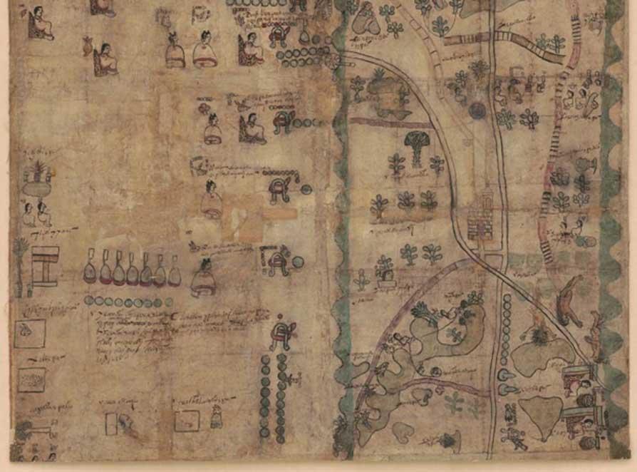 Mitad inferior del Mapa del Códice Quetzalecatzin. Obtenido de la Biblioteca del Congreso. (Dominio público)