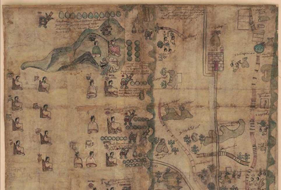 Mitad superior del Mapa del Códice Quetzalecatzin. Obtenido de la Biblioteca del Congreso. (Dominio público)