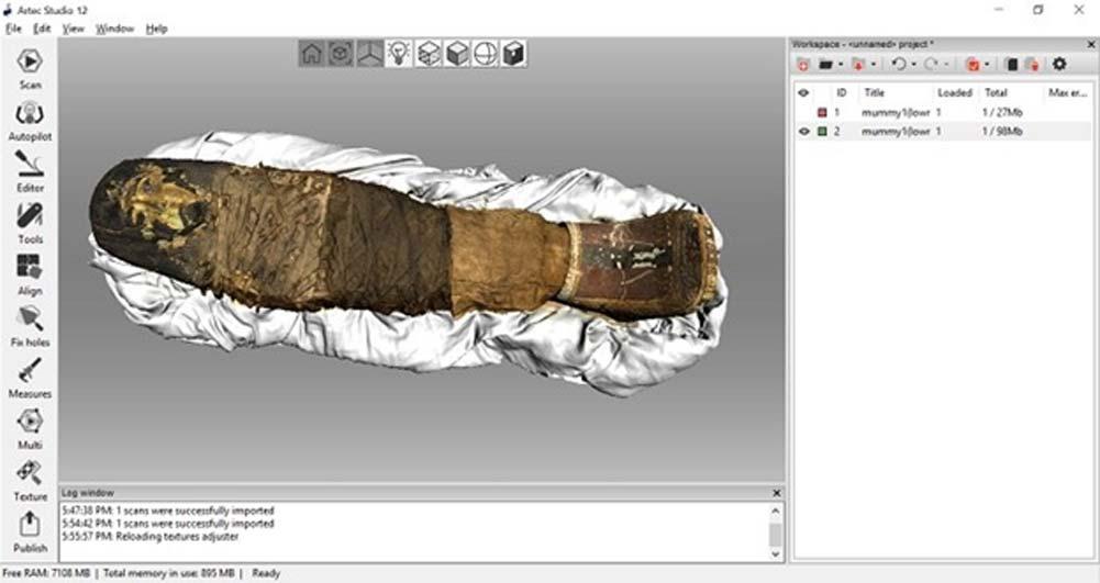 Modelo tridimensional de la momia de Sherit creado con el escáner 3D Artec Eva y reproducido mediante el software Artec Studio 12. (Artec 3D)