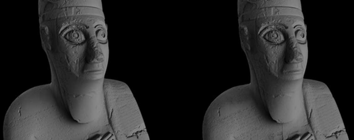 Modelos tridimensionales creados utilizando datos registrados mediante escáner de luz blanca (izquierda) y fotogrametría (derecha). (Fundación Factum)