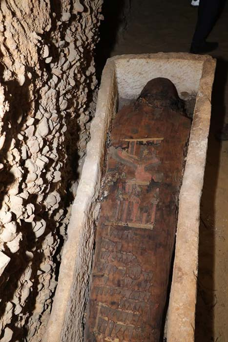 Una de las momias más profusamente decoradas descubiertas en el complejo funerario