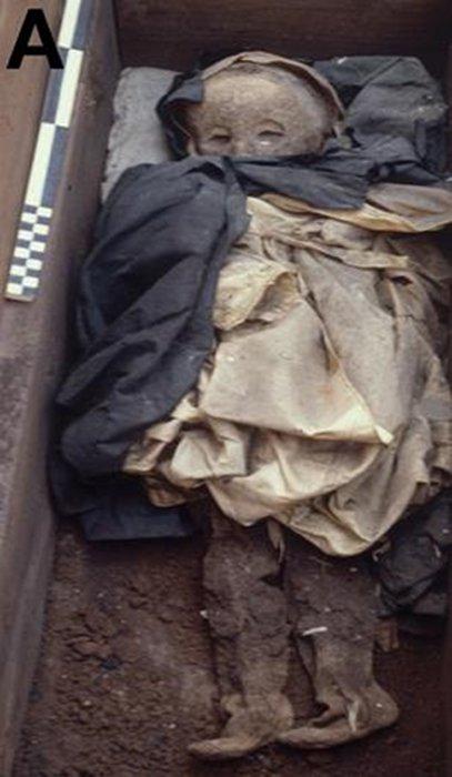 La momia del niño en su ataúd, vestida aún con sus ropas funerarias. (Patterson Ross, et al.)
