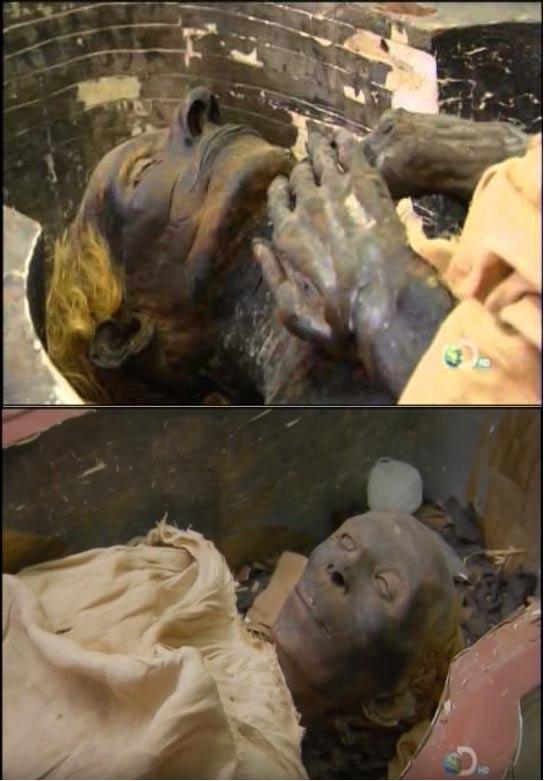 Las momias de Yuya (arriba) y su esposa Tuya (abajo). Ambos tienen el pelo rubio. (Youtube Screenshot)