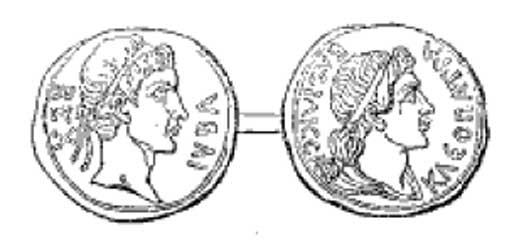 Moneda del antiguo reino de Mauritania. En el anverso (izqda.), efigie de Juba de Numidia. En el reverso (dcha.), la de Cleopatra Selene. (Public Domain)