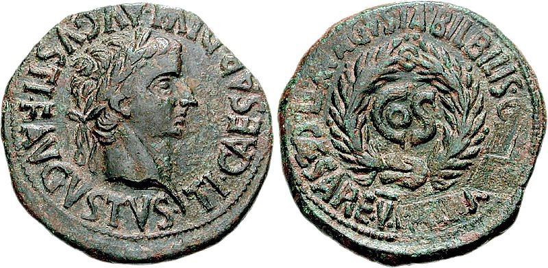 Moneda del municipium Bilbilis con damnatio memoriae de Lucio Elio Sejano, acuñada bajo el gobierno de Tiberio para conmemorar el consulado de Sejano. Año 31 d. C. (Classical Numismatic Group/GNU Free)