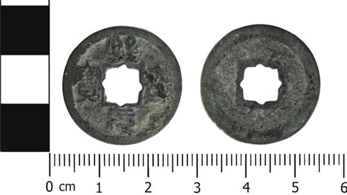 La moneda china descubierta en Cheshire. (Plan de Antigüedades Portables/CC BY SA 4.0)