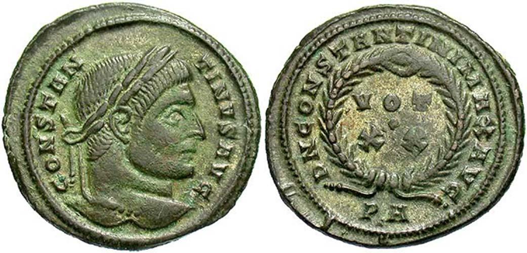 Moneda de Constantino I procedente del tesoro de Killingholme. (Beast Coins)