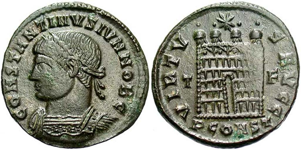 Moneda perteneciente al tesoro de Killingholme con la efigie de Constantino II. (Beast Coins)