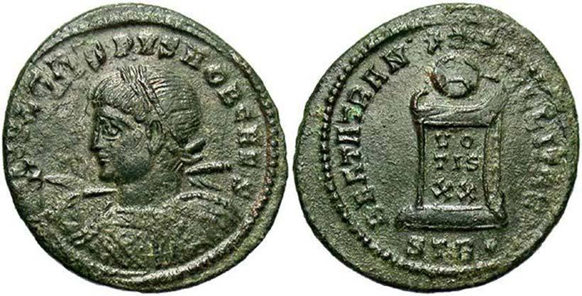 Moneda de Crispo procedente del tesoro de Killingholme. (Beast Coins)