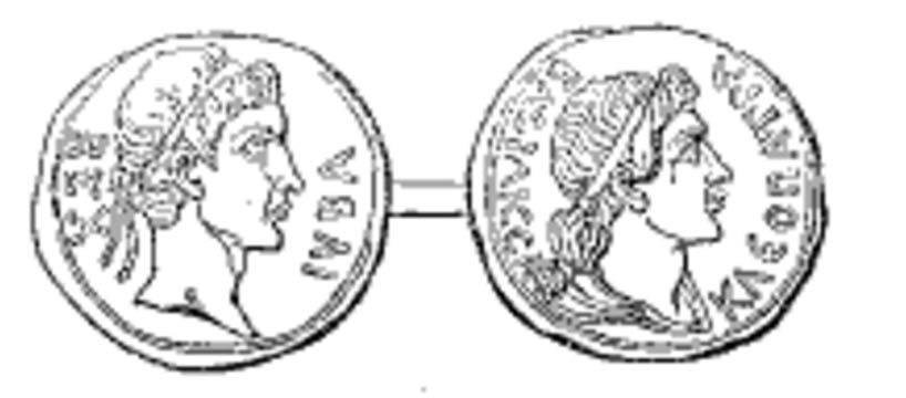 Moneda del antiguo reino de Mauritania: Juba II de Numidia en el anverso (izquierda); Cleopatra Selene II en el reverso (derecha). (Public Domain)