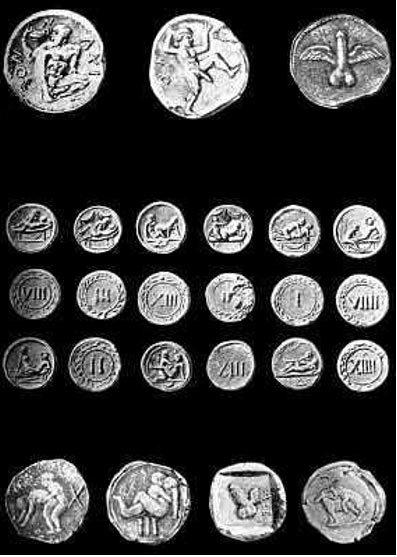 """Grabado del siglo XIX con """"Spintriae"""" (fichas de prostíbulos romanos) supuestamente encontradas en Pompeya. (Dominio público)"""