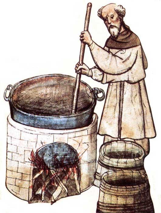 Dibujo de un monje elaborando cerveza. (MicroBus Brewery)