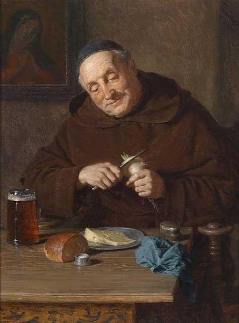 'Un monje y su comida' (1908), óleo de Eduard Grützner. (Public Domain)