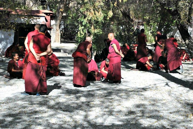 Monjes budistas charlando y debatiendo en la actualidad en el Monasterio Sera, Tíbet. (Maris Burbergs/CC BY-SA 3.0)
