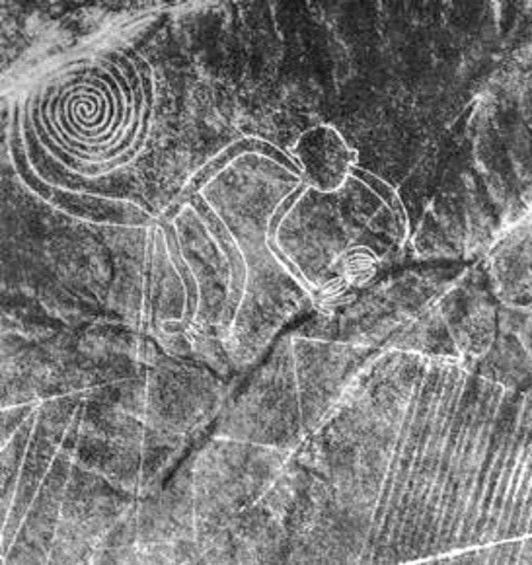 """Las líneas de Nazca son antiguos geoglifos localizados en las Pampas de Jumana del desierto de Nazca y observados por primera vez en el año 1547. En la imagen el geoglifo conocido como """"el mono"""". (Public Domain)"""