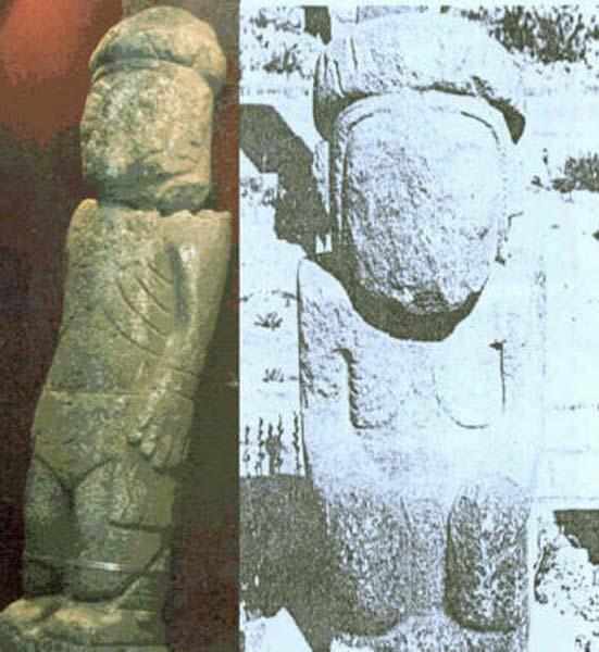 Comparación entre el Monolito de Pokotia y una de las estatuas de Tiahuanaco. (Composición fotográfica aportada por el autor)