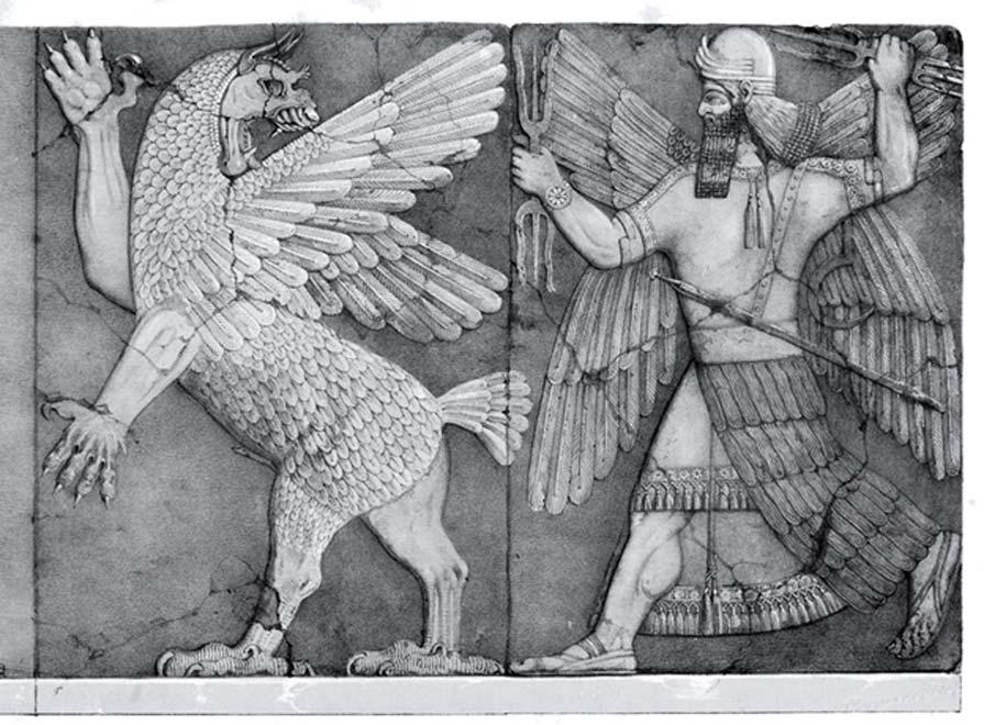 Monstruo sumerio del Caos y dios del sol sumerio (Public Domain)