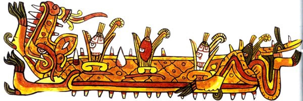 Representación de Cipactli. En el mito azteca de la creación, Cipactli es considerado el responsable de haber creado el cosmos. (Dominio público)