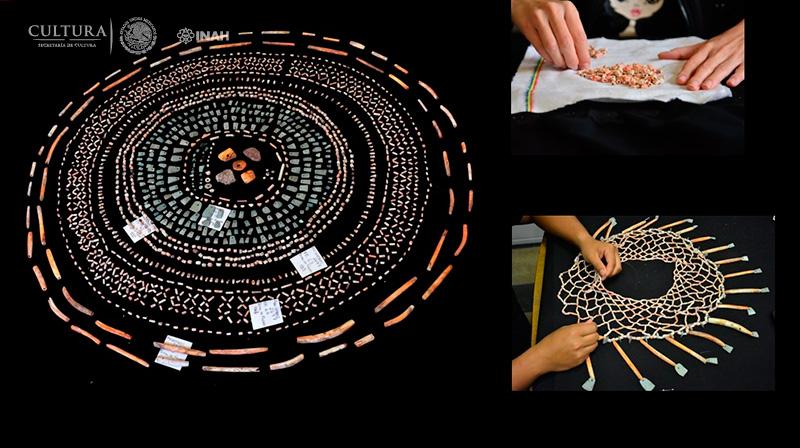 Distintas fases del montaje de las piezas del antiguo pectoral prehispánico. (Fotografía: INAH-Sinaloa)
