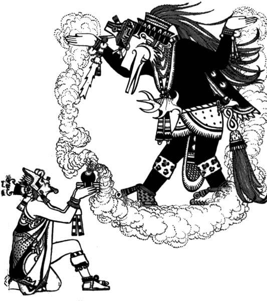 Montezuma ofrece incienso a Quetzalcóatl. (Dominio público)