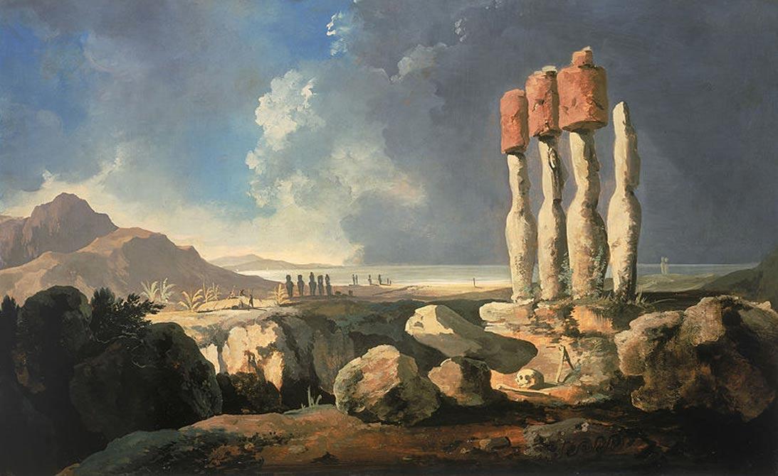 Monumentos de la Isla de Pascua, Rapanui. (1775), óleo de William Hodges (Public Domain)