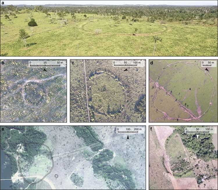 Recintos delimitados por zanjas en la cuenca superior del Tapajós (UTB). (Google, DigitalGlobe)