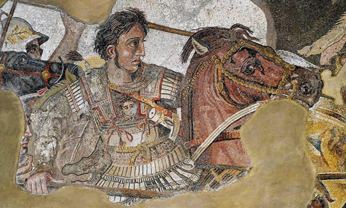 """""""Alejandro combatiendo al rey Darío III de Persia"""", Mosaico de Alejandro, Museo Arqueológico Nacional de Nápoles. (Public Domain)"""