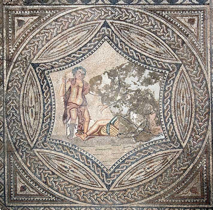 Mosaico de la Casa del Jinete en el que aparecen las imágenes de Baco y Ariadna. (Prioryman/CC BY SA 3.0)