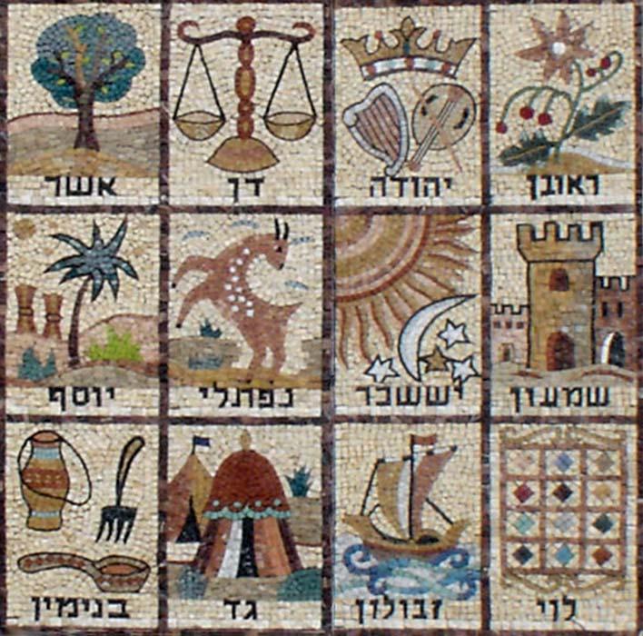 Mosaico de las Doce Tribus de Israel, fachada de la sinagoga Givat Mordechai Etz Yosef, situada en la calle Ha Rav Gold de Jerusalén. La tribu de Dan aparece representada en la esquina superior derecha (Public Domain)