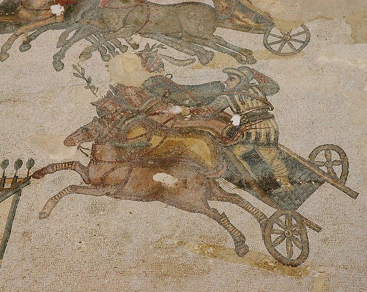 Carrera de cuadrigas. Mosaico de la Villa Romana del Casale (© José Luiz Bernardes Ribeiro/CC BY-SA 4.0)