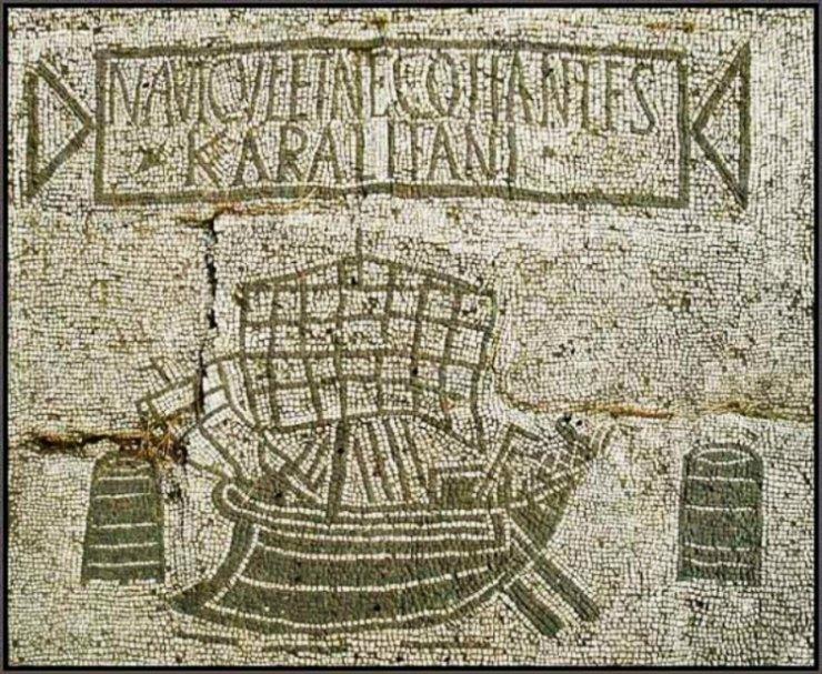 Mosaico que representa a un barco arribando al antiguo puerto romano de Ostia. (Roburq/CC BY-SA 3.0)