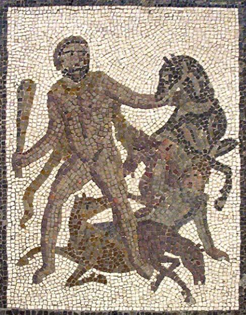 Hércules y las yeguas de Diomedes. Detalle del mosaico de los doce trabajos de Hércules que se encuentra en Llíria (Valencia, España). (CC BY-SA 3.0)