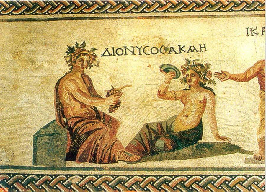 Mosaicos helenísticos descubiertos cerca de la ciudad de Pafos. En la imagen podemos observar a Dionisos, dios del vino. (Public Domain)