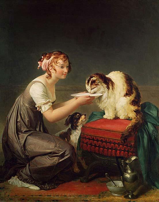 'Muchacha dando leche a su gato', óleo de Marguerite Gerard (Dominio público)