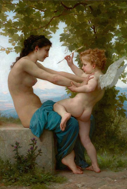 """Joven defendiéndose de Eros,"" 1880, óleo de William-Adolphe Bouguereau (Wikimedia Commons)"