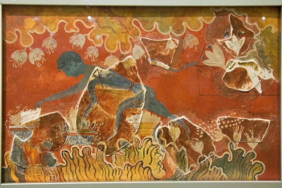 """El """"Muchacho azul"""" o el """"Recolector de azafrán"""". Fresco minoico de Knossos (reconstrucción realizada por Evans) (CC BY SA 4.0)"""