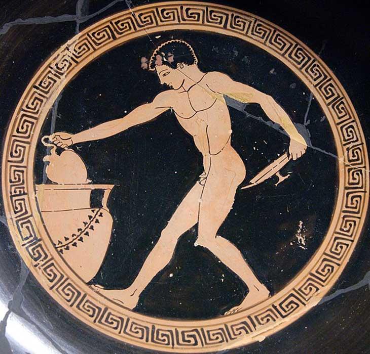 Joven escanciador de vino en un banquete de la antigua Grecia. (Public Domain)