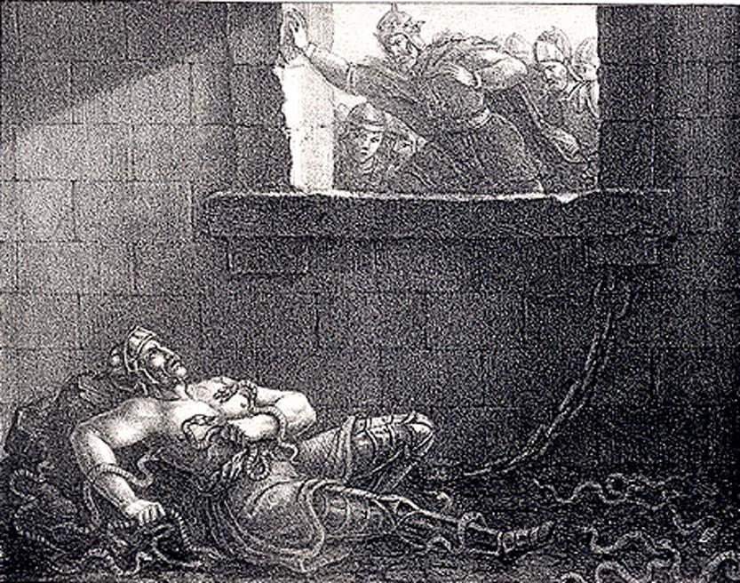 Ilustración de la ejecución de Ragnar Lodbrok ordenada por el rey Ælla de Northumbria. Hugo Hamilton (1830). (Dominio público)