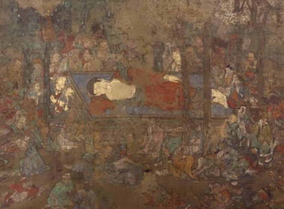 'La muerte de Buda', pintura en rollo colgante perteneciente al Museo Británico. Imagen: Trustees of the British Museum