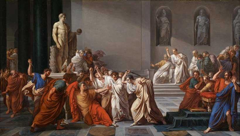 """""""La muerte de Julio César"""", óleo de Vincenzo Camuccini (Dominio público)"""