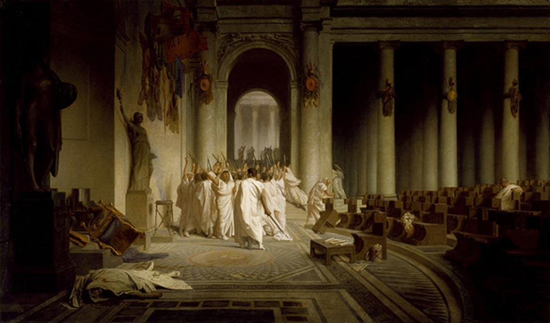 Muerte de César, óleo de Jean-Léon Gérôme (1867). (Public Domain)
