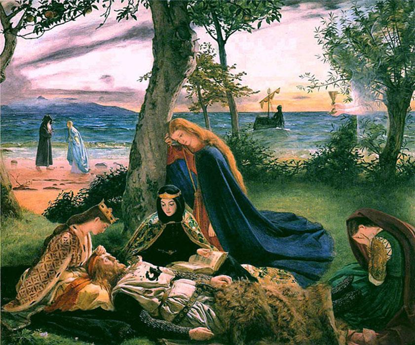 El difunto rey Arturo antes de ser trasladado su cadáver a la isla de Ávalon (Public Domain)