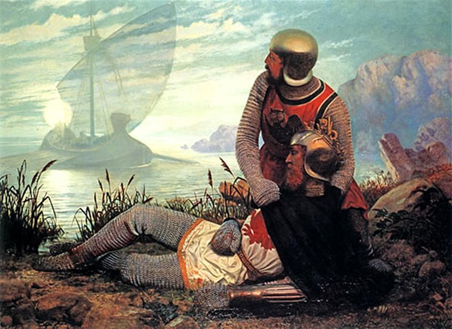 'La muerte del rey Arturo', óleo de John Garrick (Dominio público)