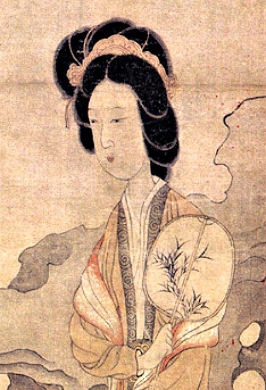 """Mujer con un abanico oval, de la pintura """"Agradeciendo las ciruelas"""" (primera mitad del siglo XVII), obra del artista chino Chen Hongshou, (1598-1652) Museo provincial de Guangdong, China. (Public Domain)"""